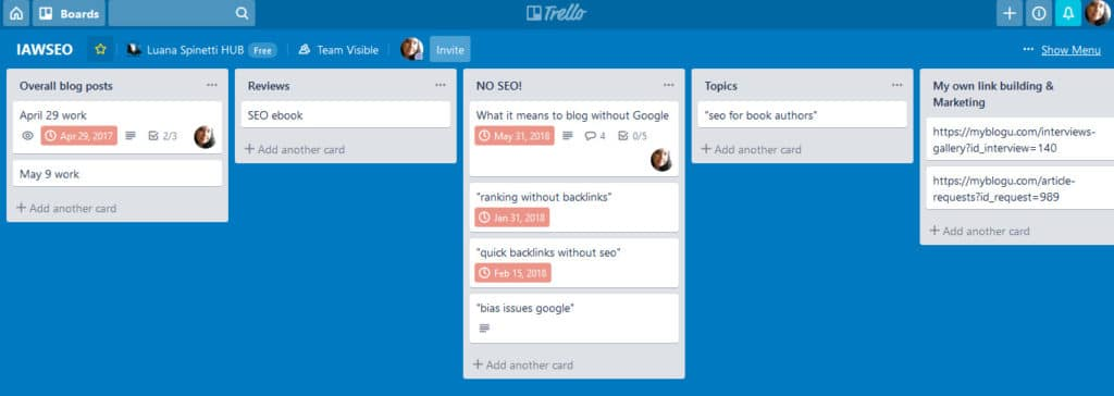 content planning for seo: using trello for content planning