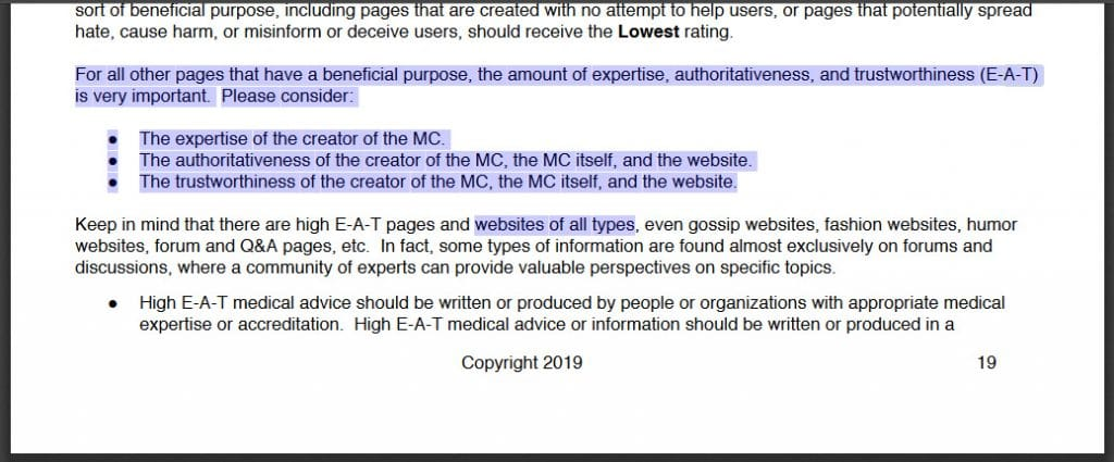 Screenshot: Quality Raters Guidelines 2019 mentioning E-A-T