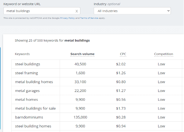 metal buildings keyword search