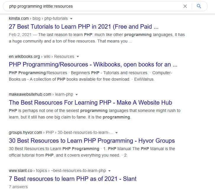 Resource Page Link Building: Example with intitle: operator in Google