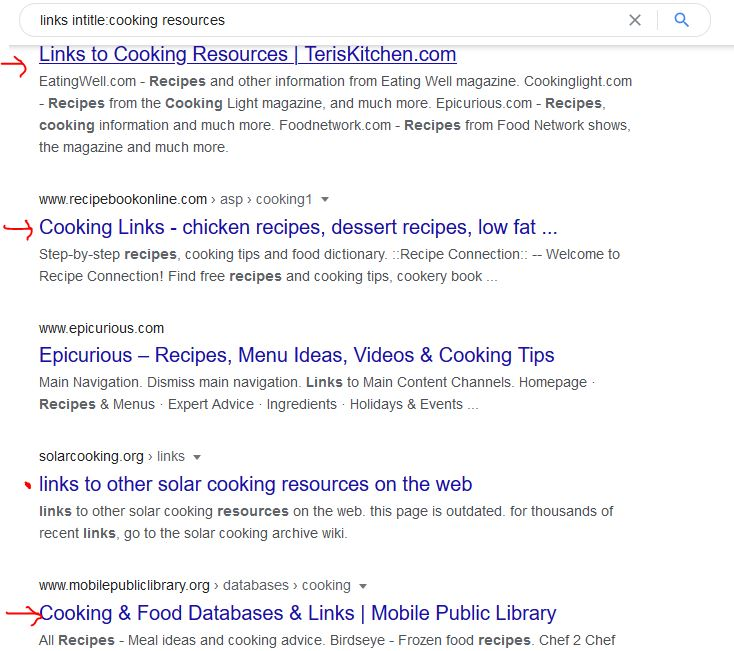 Resource Page Link Building: Example search for cooking resources