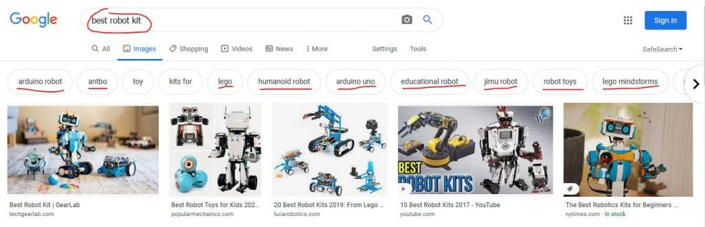 """Entity SEO: Google Images example returning entities for the search """"best robot kit"""""""