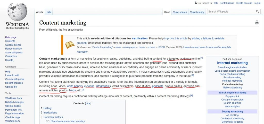 Entity SEO: example of Wikipedia page to analyze: Content Marketing