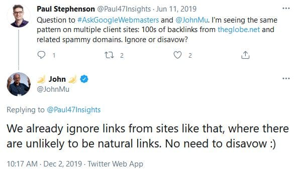 Google ignores links from spammy domains