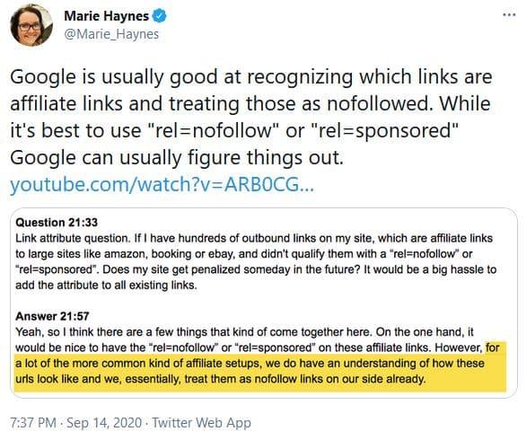 Google ignores affiliate links