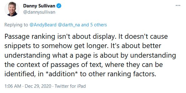 Passage Indexing: Tweet by Danny Sullivan at Google